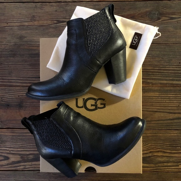 55be873fa25 UGG Cobie II Black Leather Booties